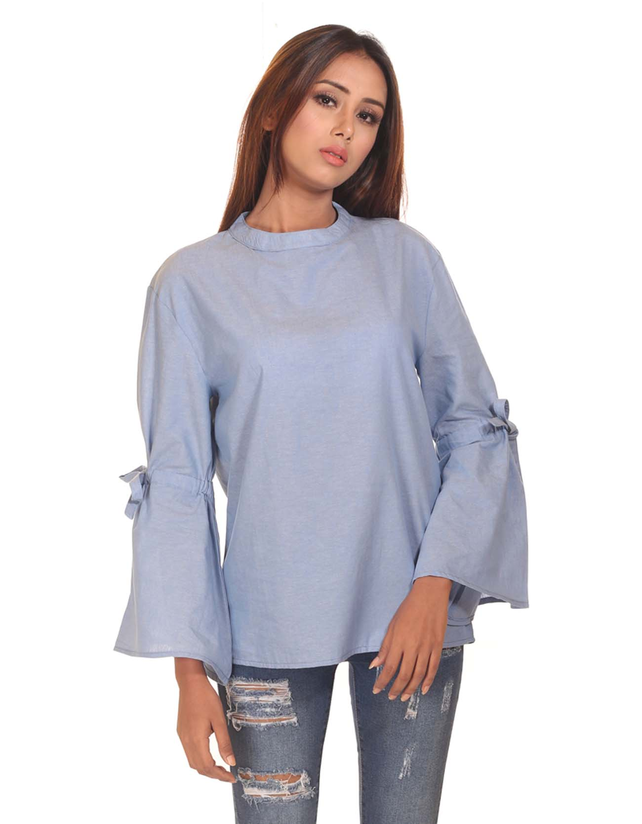 Chambray Bow Top