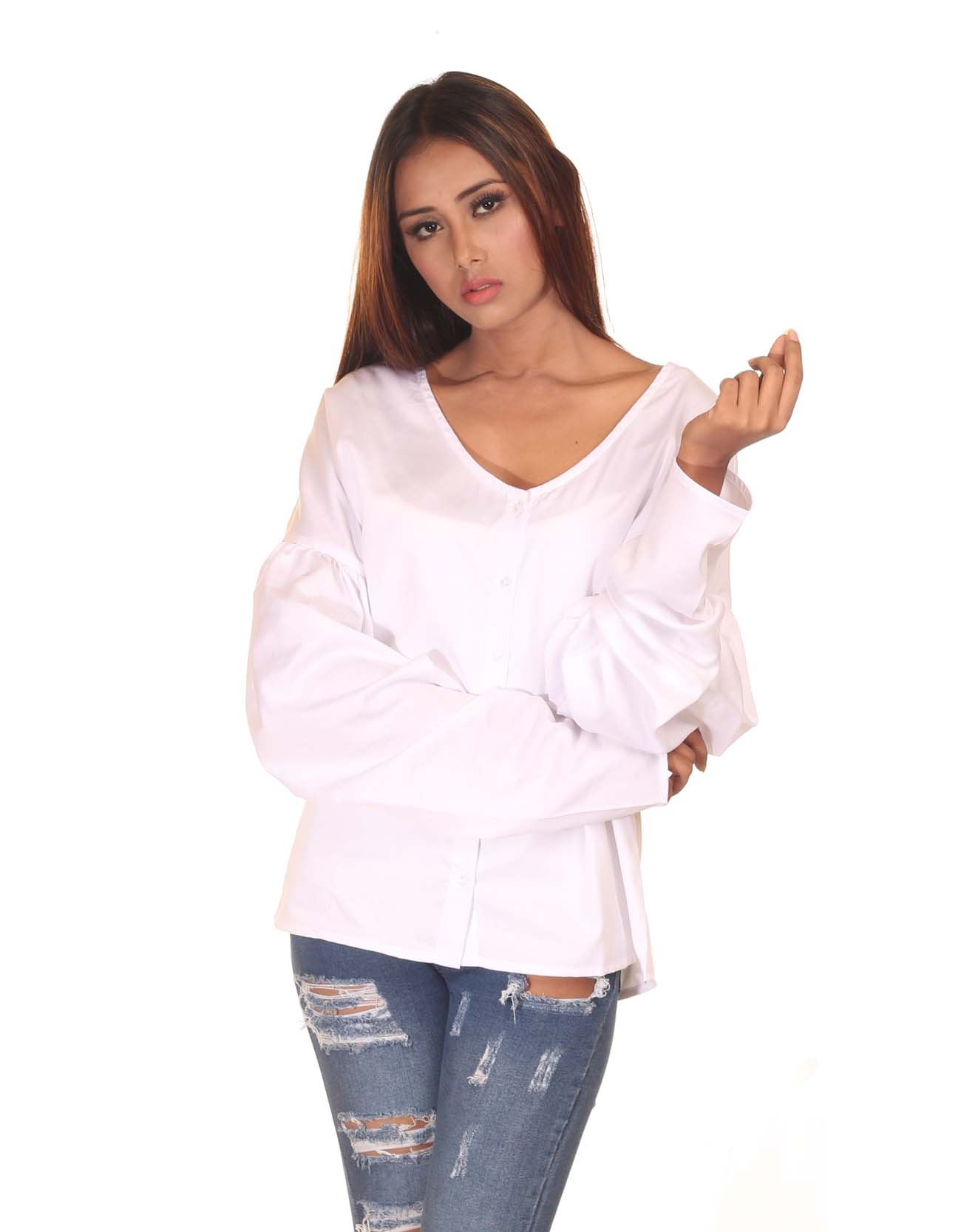 Statement Sleeved Buttoned Top