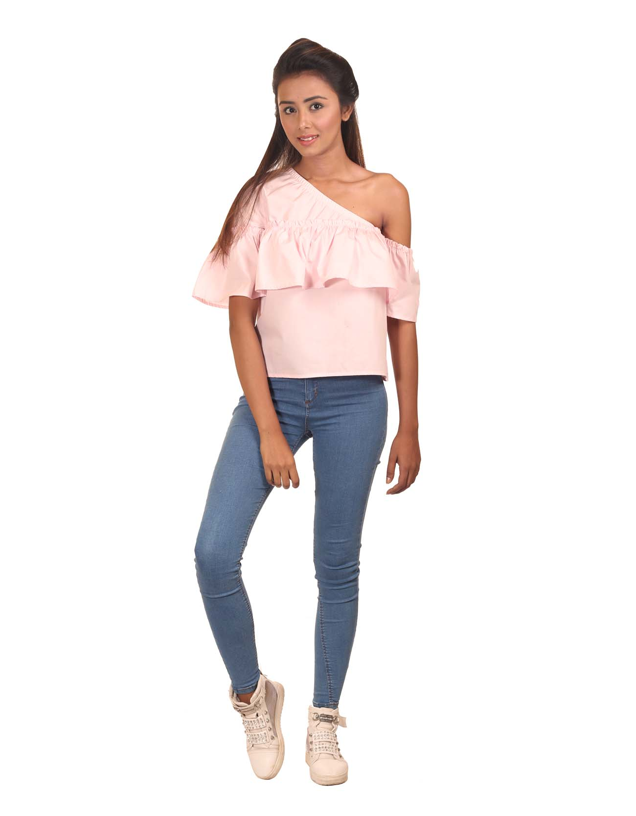 One Shoulder Frill Top