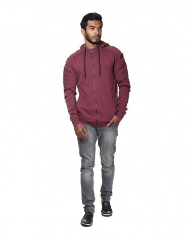 Quilted Ripped Sleeved Hoodie