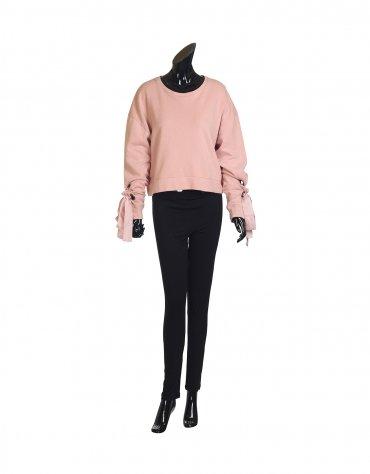 Ruched Sweatshirt with Satin Detail