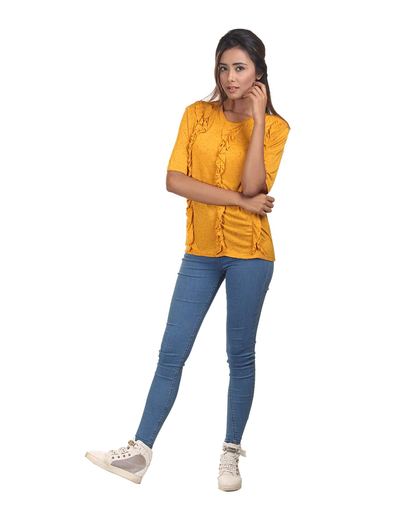 Frill Tee with Nap Effect