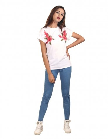 Knit Tee with Floral Applique