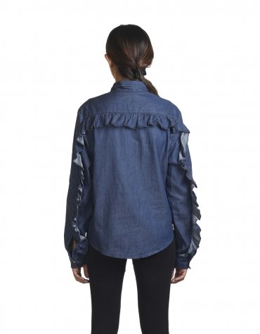 Frilled Denim Button-Down Shirt
