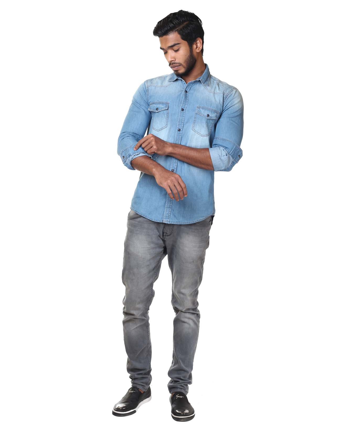 Wash Effect Denim Shirt