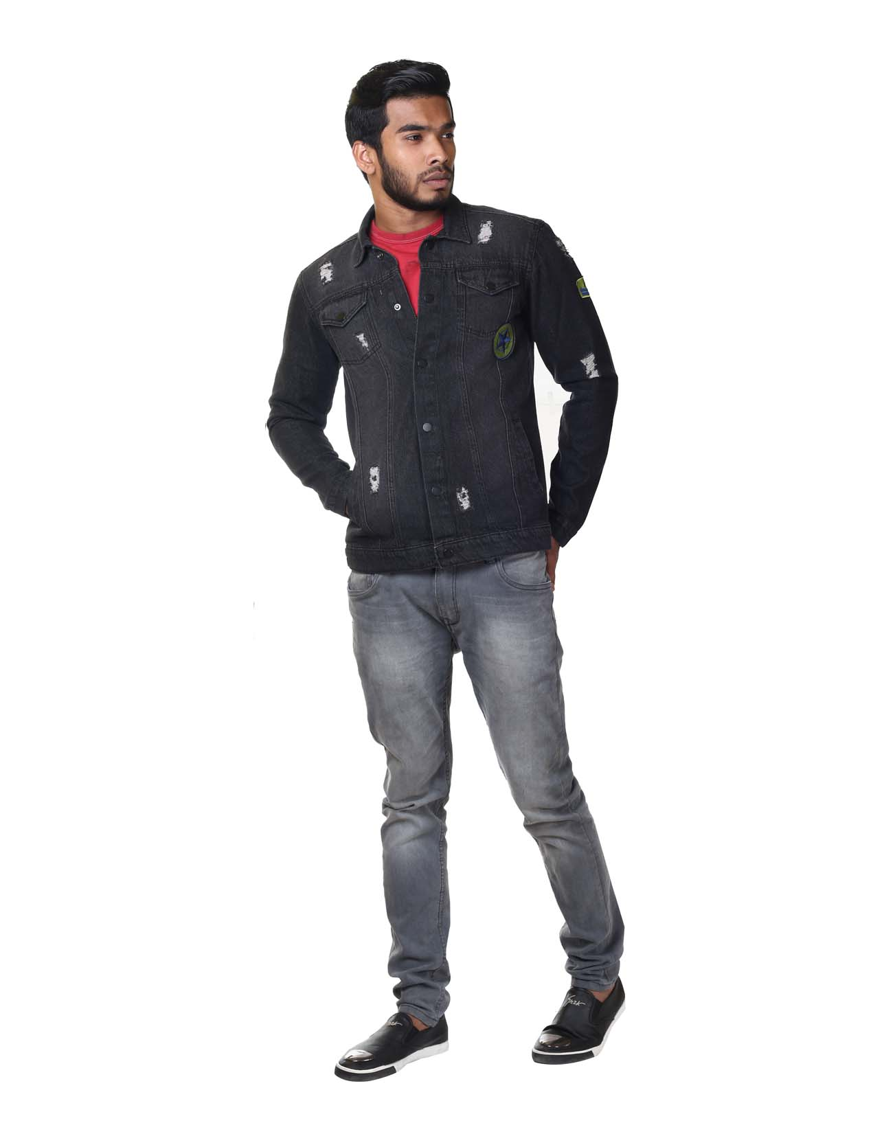 Distressed Denim Patch Jacket