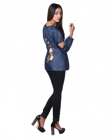 Embroidered Chambray Top