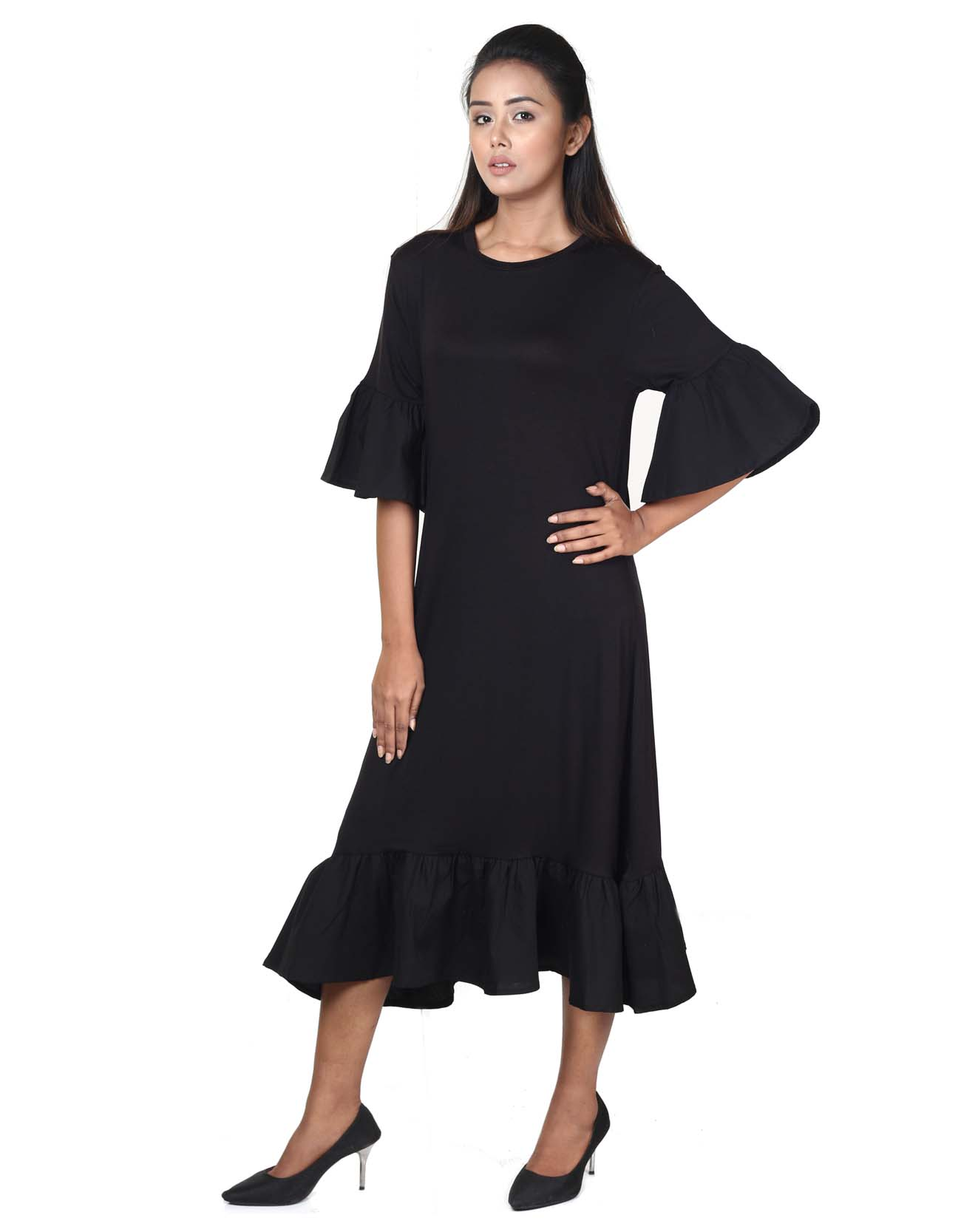 Bell Sleeve Ruffled Midi Dress