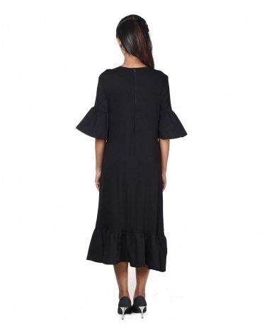 Bell Sleeve Ruffled Midi Dress
