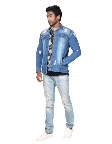 Distressed Patch Jacket