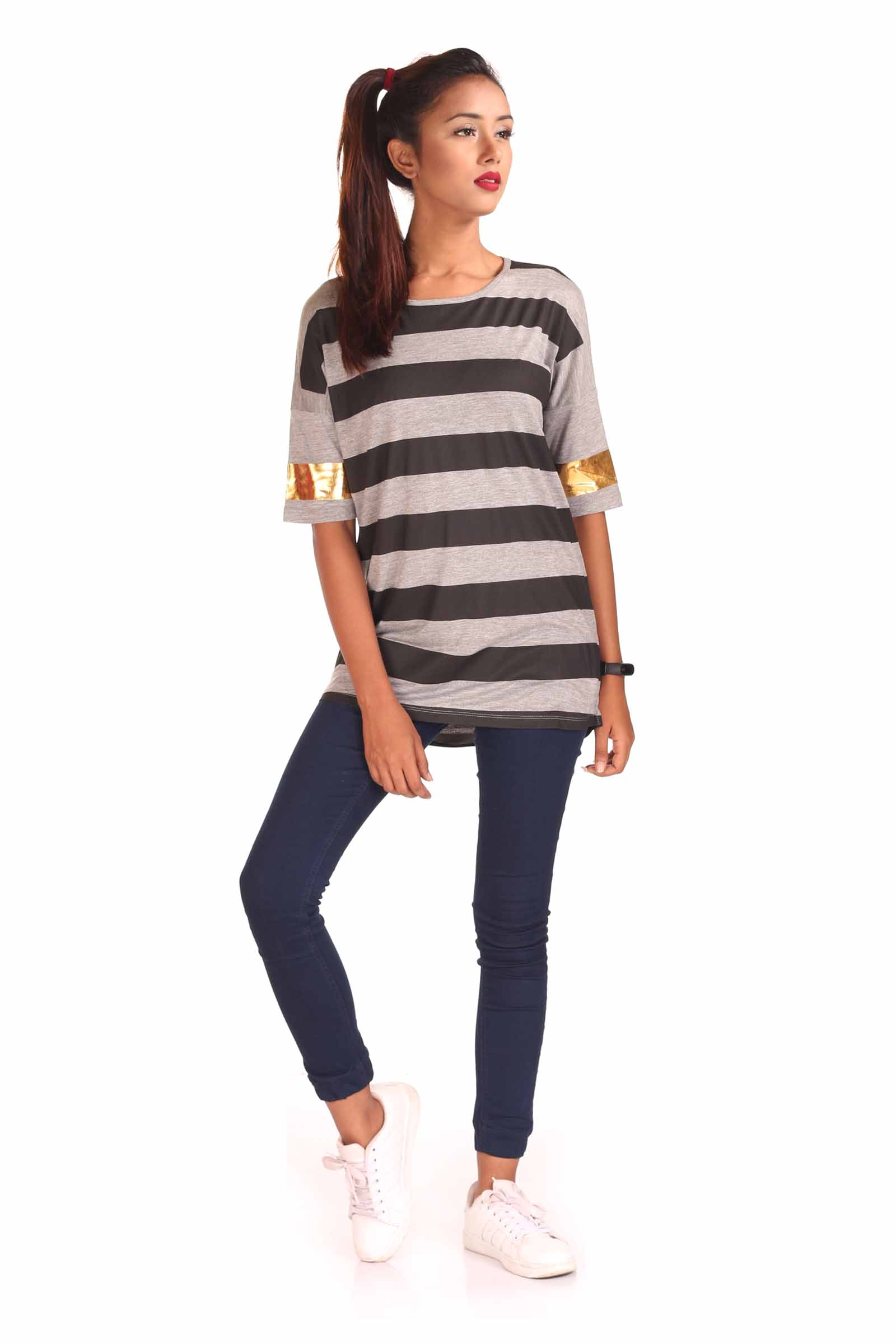 Striped Long Tee with Gold Foil Print