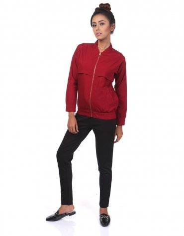 Twill Bomber with Gold Zipper