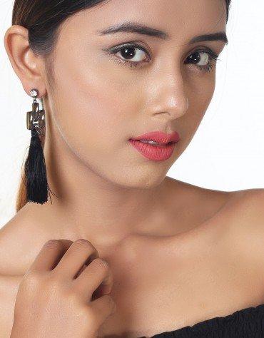 Jewel Stud Tassel Earrings