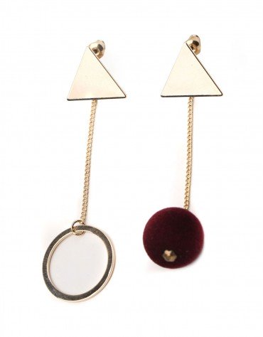 Circle Pom Pom Drop Earrings