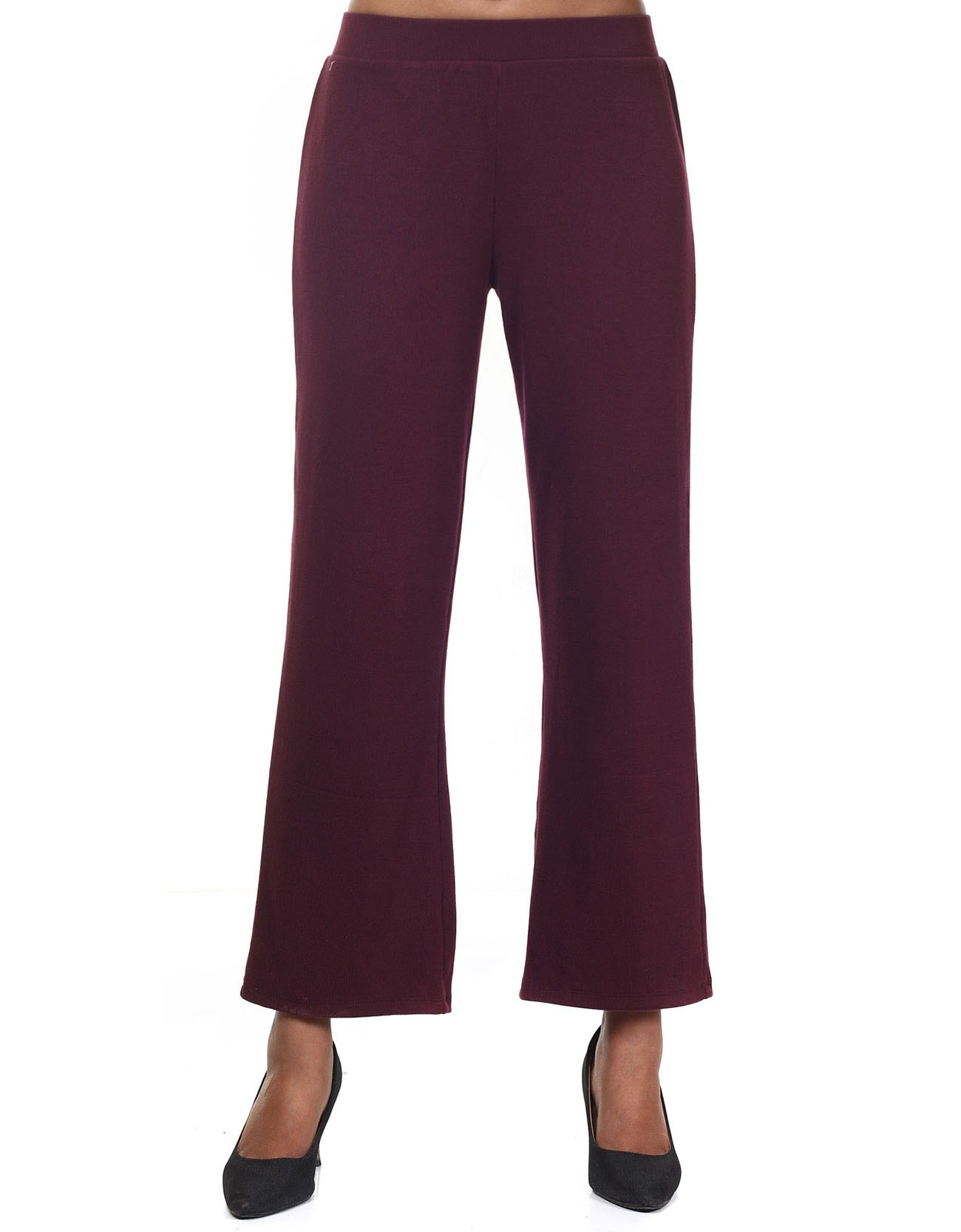 Ribbed Flare-Leg Pants