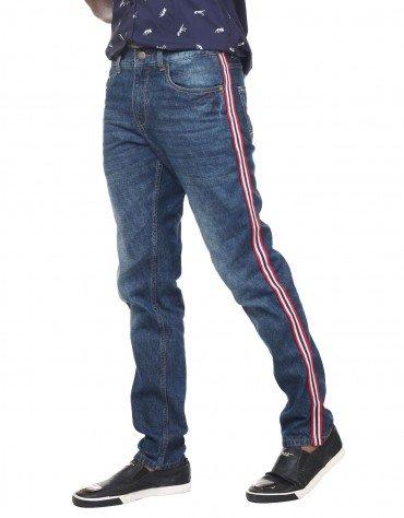 Striped-Trim Jeans