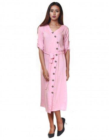 Button-Front Midi Dress
