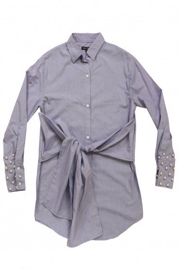 Belted Shirt with Studded Cuffs