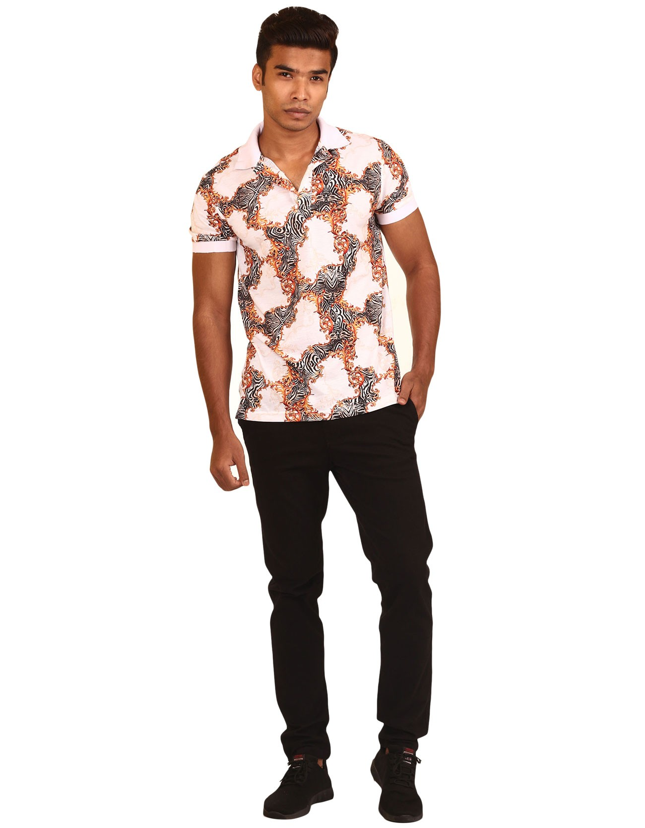 Baroque Print Polo Shirt