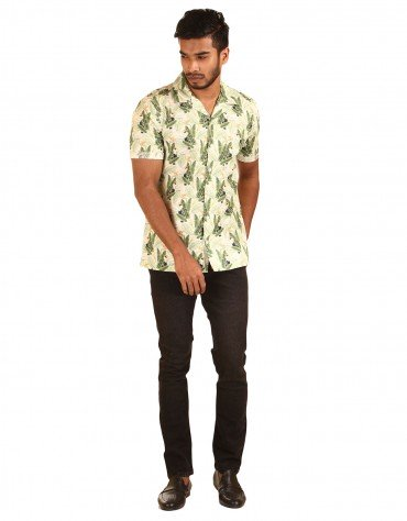 Tropical Print  Half-Sleeved Shirt